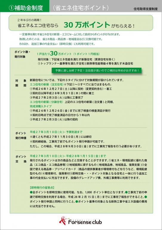 ①補助金制度(省エネ住宅ポイント)